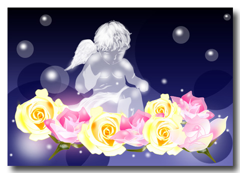 天使とバラ