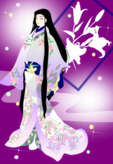 美人画 百合 ②紫